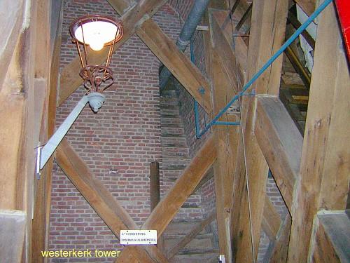 Amsterdam Westerkerk, la torre, la struttura interna