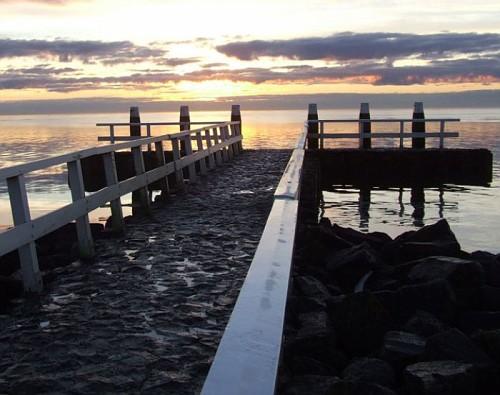 la Diga dell'Afsluitdijk, un Tramonto