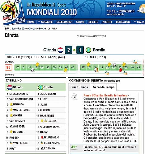 Olanda Brasile: 2-1.Calcio Mondiali 2010 - la Cronistoria